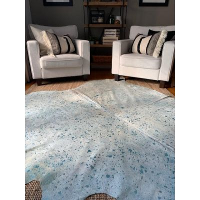 Turquoise Metallic Cowhide Rug Size: Approx. 8' X 6 1/2' Beige/Blue Acid Washed Cowhide Rug
