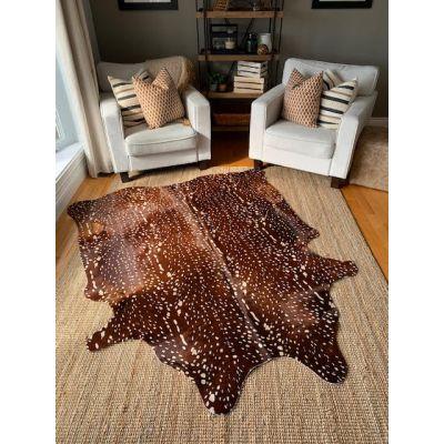 Axis Deer Print Cowhide Rug Size: 7' X 6' Brown/White Deer Print Cowhide Rug
