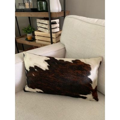 Speckled Tricolor Cowhide Pillow Cover - Lumbar - Size: 19 in x 11.5 in