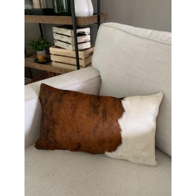 Tricolor Brindle Cowhide Pillow Cover - Lumbar - Size: 19 in x 11.5 in