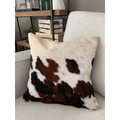 Speckled Tricolor Cowhide Pillow Cover - Size: 15 in x 15 in