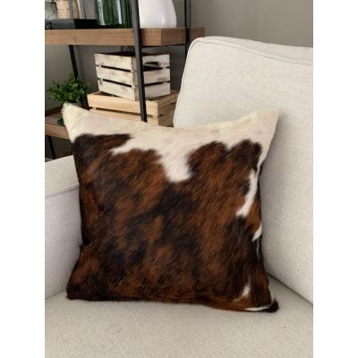 Tricolor Brindle Cowhide Pillow Cover - Size: 15 in x 15 in