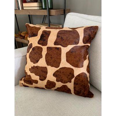 "Giraffe Print Cowhide Pillow Cover Size: 19""X 19"""