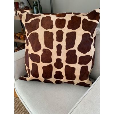 """Giraffe Print Cowhide Pillow Cover Size: Oversized 28.5"""" X 28.5"""""""