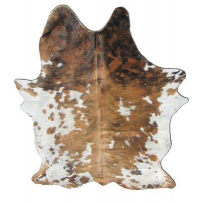Speckled Tricolor Cowhide Rug Size: 7 1/4' X 6 1/2' Speckled Brown and White Cowhide Rug B-001