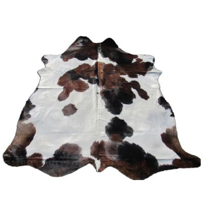 Brown & White Cowhide Rug Size: 7 1/4' X 7 1/4' Spotted Brown and White Cowhide Rug B-005
