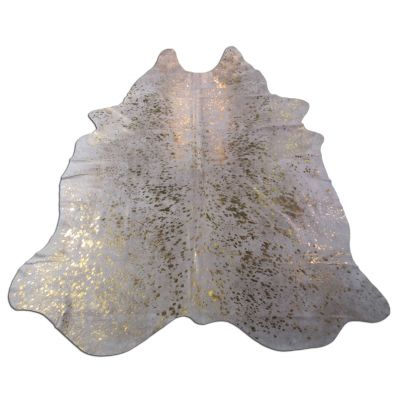 Gold Cowhide Rug Size: 7 1/2' X 6 1/4' White/Gold Acid Washed Cowhide Rug B-018