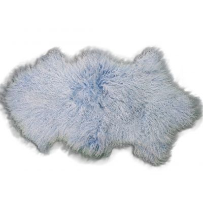 Blue Mongolian Sheep Skin Rug - Size: ~ 38 X 22 inches Tibetan Lamb