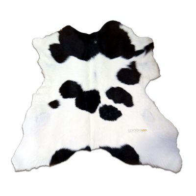 "Black and White Calfskin Size: 36""X 29"" Long Haired Black and White Calf Skin Mini Cowhide Rug"