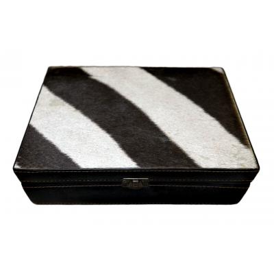 """Genuine Zebra Skin Leather Jewelry Box #8 Size: 7"""" X 10"""" X 3"""" inches"""