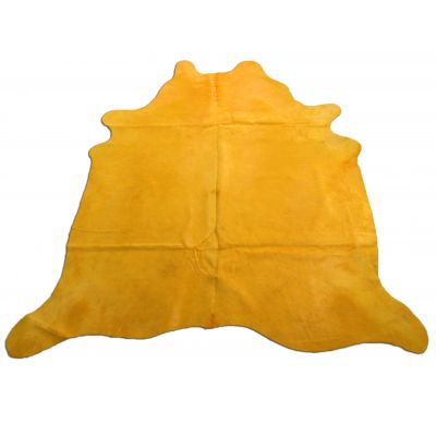 Yellow Cowhide Rug Size: 7 3/4' X 7' Dyed Yellow Cowhide Rug C-1003