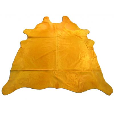 Yellow Cowhide Rug Size: 8' X 7' Dyed Yellow Cowhide Rug C-1005