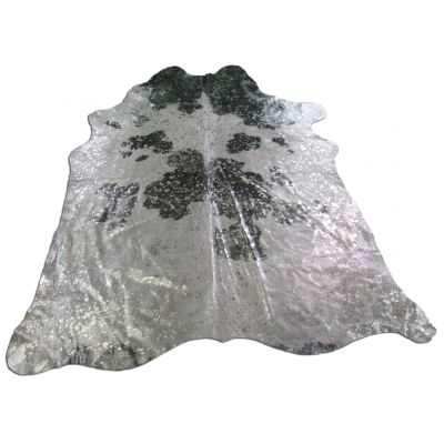 Black and White Silver Cowhide Rug Size: 7' X 7' Black/Silver Acid Washed Cowhide Rug C-1016