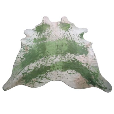 Distressed Green Cowhide Rug Size: 7 1/2' X 7' Green/White Acid Washed Cowhide Rug C-1047