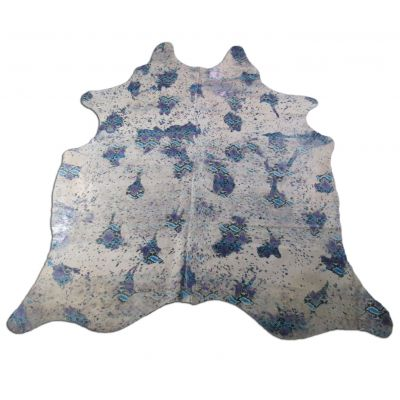 Snake Print Cowhide Rug Size: 8' X 7' Grey/Blue Acid Washed Cowhide Rug C-1086