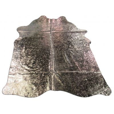 Dyed Black Gold Cowhide Rug Size: 6 1/4' X 5 3/4' Black/Gold Acid Washed Cowhide Rug C-1088