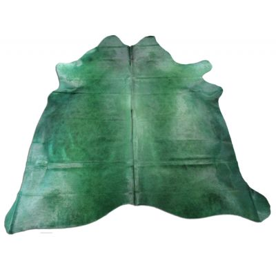 Emerald Green Cowhide Rug Size: 7' X 7' Dyed Green Cowhide Rug C-1092