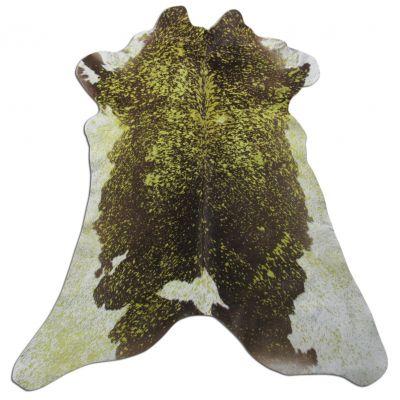 "Yellow Acid Washed Calfskin Size: 43"" X 34"" Yellow/Brown Calf Skin Mini Cowhide Rug C-1100"