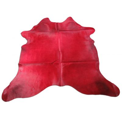 Red Cowhide Rug Size: 7 3/4' X 7' Dyed Red Cowhide Rug WITH BACKING C-1110