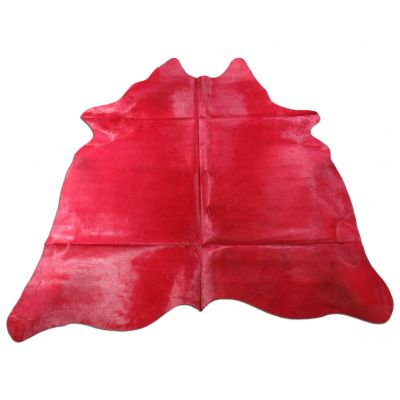 Red Cowhide Rug Size: 7' X 6 3/4' Dyed Red Cowhide Rug WITH BACKING C-1111
