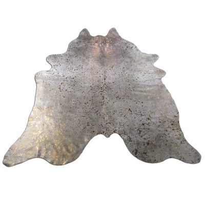 Bronze Cowhide Rug Size: 7 1/2' X 7' Grey/Bronze Acid Washed Cowhide Rug C-1121