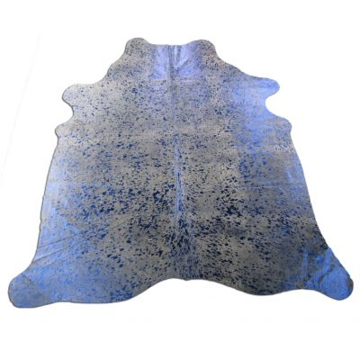 Blue Metallic Cowhide Rug Size: 7' X 6 1/4' Beige/Blue Acid Washed Cowhide Rug C-1122
