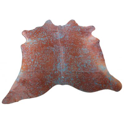 Turquoise Cowhide Rug Size: 6' X 6 1/4' Brown/Blue Acid Washed Cowhide Rug C-1123