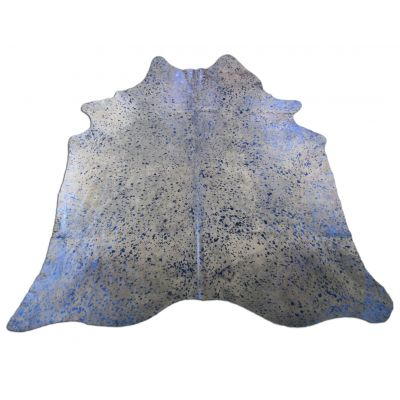 Blue Metallic Cowhide Rug Size: 7' X 6 1/4' Beige/Blue Acid Washed Cowhide Rug C-1124