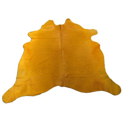 Yellow Cowhide Rug Size: 7' X 7' Dyed Yellow Cowhide Rug C-1125