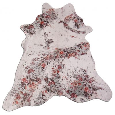 "Floral Acid Washed Calfskin Size: 45"" X 39"" White/Multicolor Calf Skin Mini Cowhide Rug C-1127"