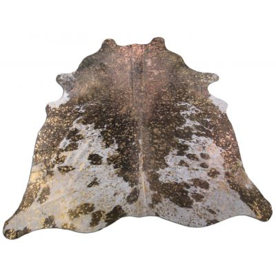 Brown And White Bronze Cowhide Rug Size: 7' X 6 1/4' Brown/Bronze Acid Washed Cowhide Rug C-1159