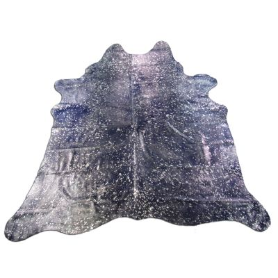 Dyed Blue Silver Cowhide Rug Size: 7' X 6 1/2' Blue/Silver Acid Washed Cowhide Rug C-1170