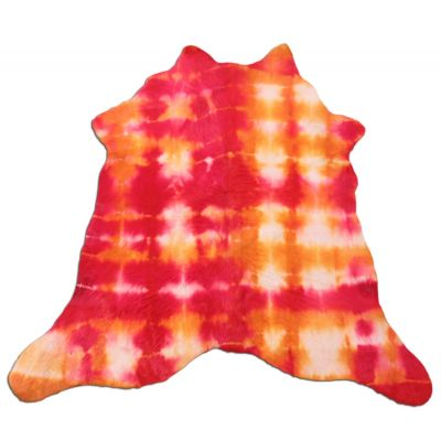 """Dyed Red Tie-Dye Calfskin Size: 34"""" X 34"""" Red/Yellow Calf Skin Mini Cowhide Rug C-1176"""