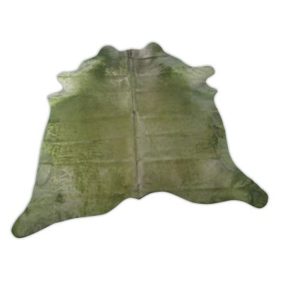 Olive Green Cowhide Rug Size: 6 1/4' X 6 1/4' Dyed Green Cowhide Rug C-1192