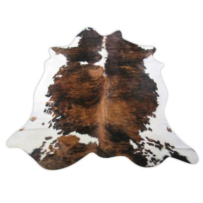 Tricolor Brindle Cowhide Rug Size: 7 1/4' X 7' Speckled Brown and White Cowhide Rug C-1201