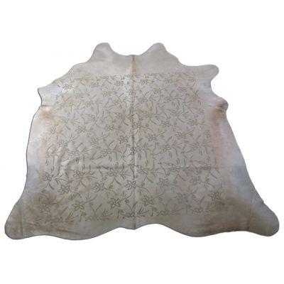 Floral Laser Pattern Cowhide Rug Size: 7' X 6 1/2' Beige/Beige Cowhide Rug C-1213