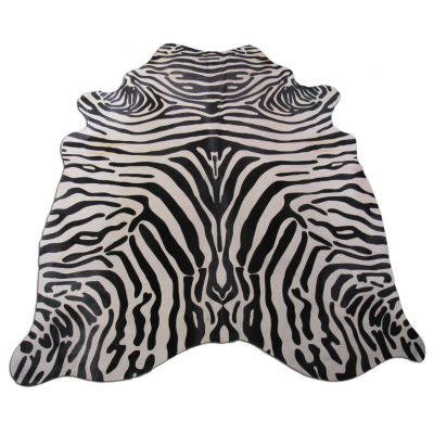 Zebra Print Cowhide Rug Size: 7' X 5 3/4' Black/Grey Upholstery Zebra Cowhide Rug C-1241