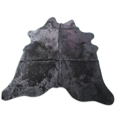 Black Cowhide Rug WITH BACKING Size: 7 1/4' X 7' Dyed Black Cowhide Rug C-1255