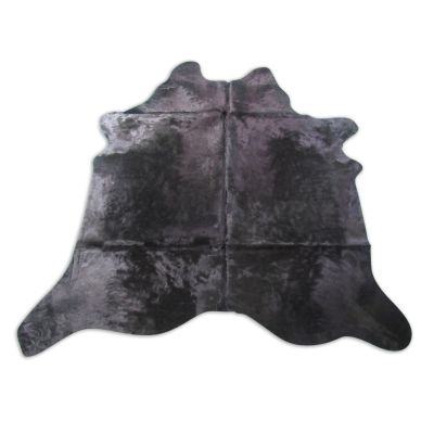 Black Cowhide Rug WITH BACKING Size: 7' X 6 3/4' Dyed Black Cowhide Rug C-1256
