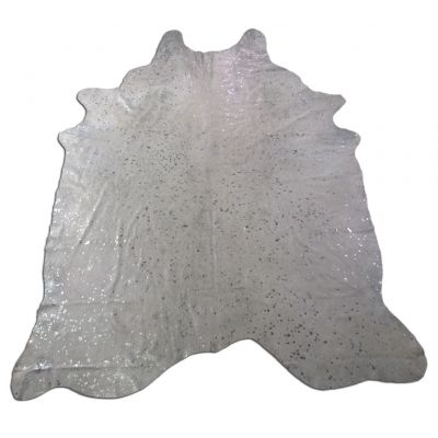 Silver Cowhide Rug Size: 8 1/4' X 6 1/2' White/Silver Acid Washed Cowhide Rug C-1274