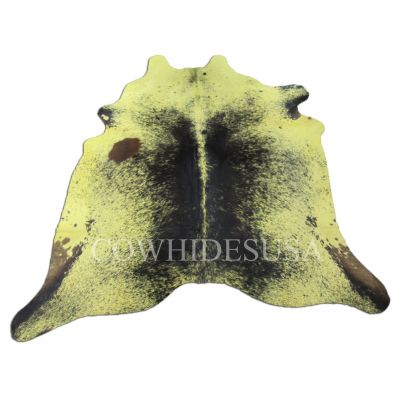 Yellow Cowhide Rug Size: 7' X 7' Dyed Yellow Salt & Pepper Cowhide Rug C-511