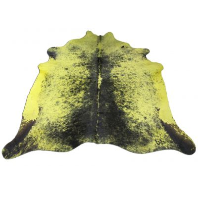 Yellow Cowhide Rug Size: 7' X 7 1/4' Dyed Yellow Salt & Pepper Cowhide Rug C-678