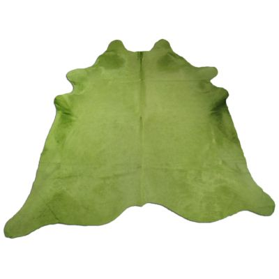 Lime Green Cowhide Rug Size: 7 1/4' X 7' Dyed Green Cowhide Rug C-714