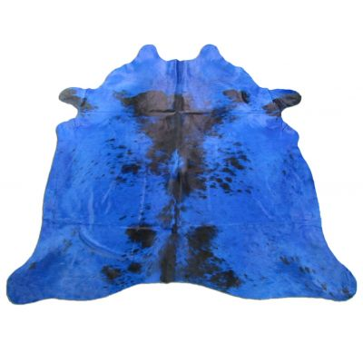 Blue Cowhide Rug Size: 7 3/4' X 6 3/4' Dyed Blue Salt & Pepper Cowhide Rug C-914
