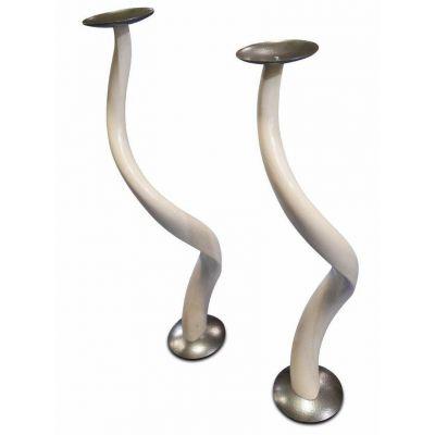 Polished kudu inner horn candle holder, kudu horn candle holder, kudu antler
