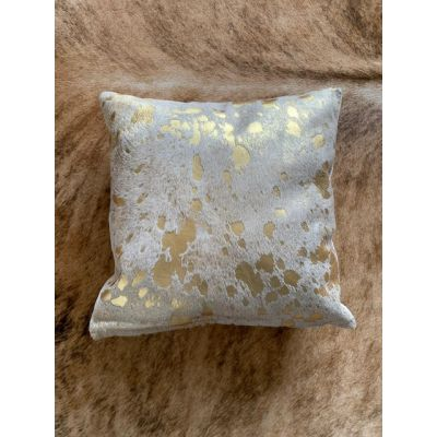 Gold Acid Washed Cowhide Pillow Cover - Square - Size: 16 in x 16 in