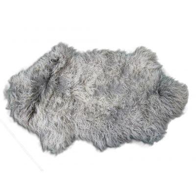 Grey Mongolian Sheepskin Rug - Size: Average 35 in X 20 in Tibetan Lamb Skin