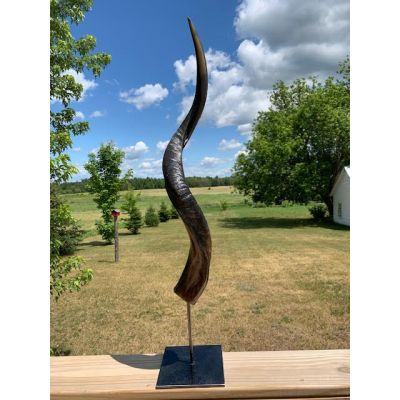 """Half Polished Kudu Horn on Metal Stand African Antelope Outer Horn - Size: About 30"""" horn length (base is about 9"""")"""