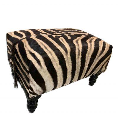 "Real Zebra Bench 20H X 22 X 31"" Zebra Skin Hair-on Ottoman"