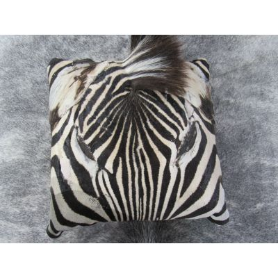 Zebra Face Pillow 13x13 inches Real Burchell's Zebra Leather Pillow - Made in USA
